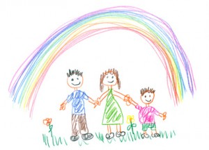 Drawing made by a child, happy family in the spring