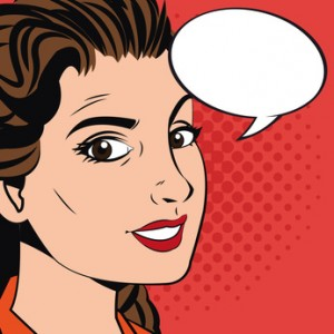 Woman cartoon with bubble icon. Pop art comic and retro theme. Colorful design. Vector illustration